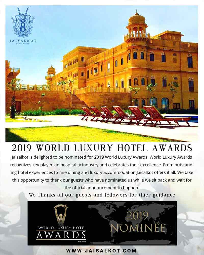 Promotional design for award nomination received by Hotel Jaisalkot